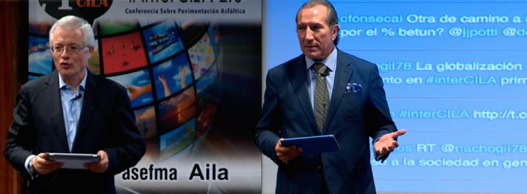 Miguel Ángel del Val, catedrático de caminos y coordinador de interCILA, junto a Juan José Potti, presidente de ASEFMA y máximo impulsor de interCILA.