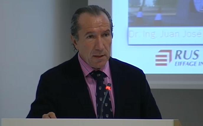 Intervención de Juan José Potti, presidente de ASEFMA, durante la II Jornada de conservación de pavimentos urbanos.