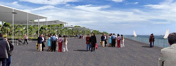 Recreación del proyecto del Puerto de Huelva en la avenida Francisco Montenegro de la capital onubense.
