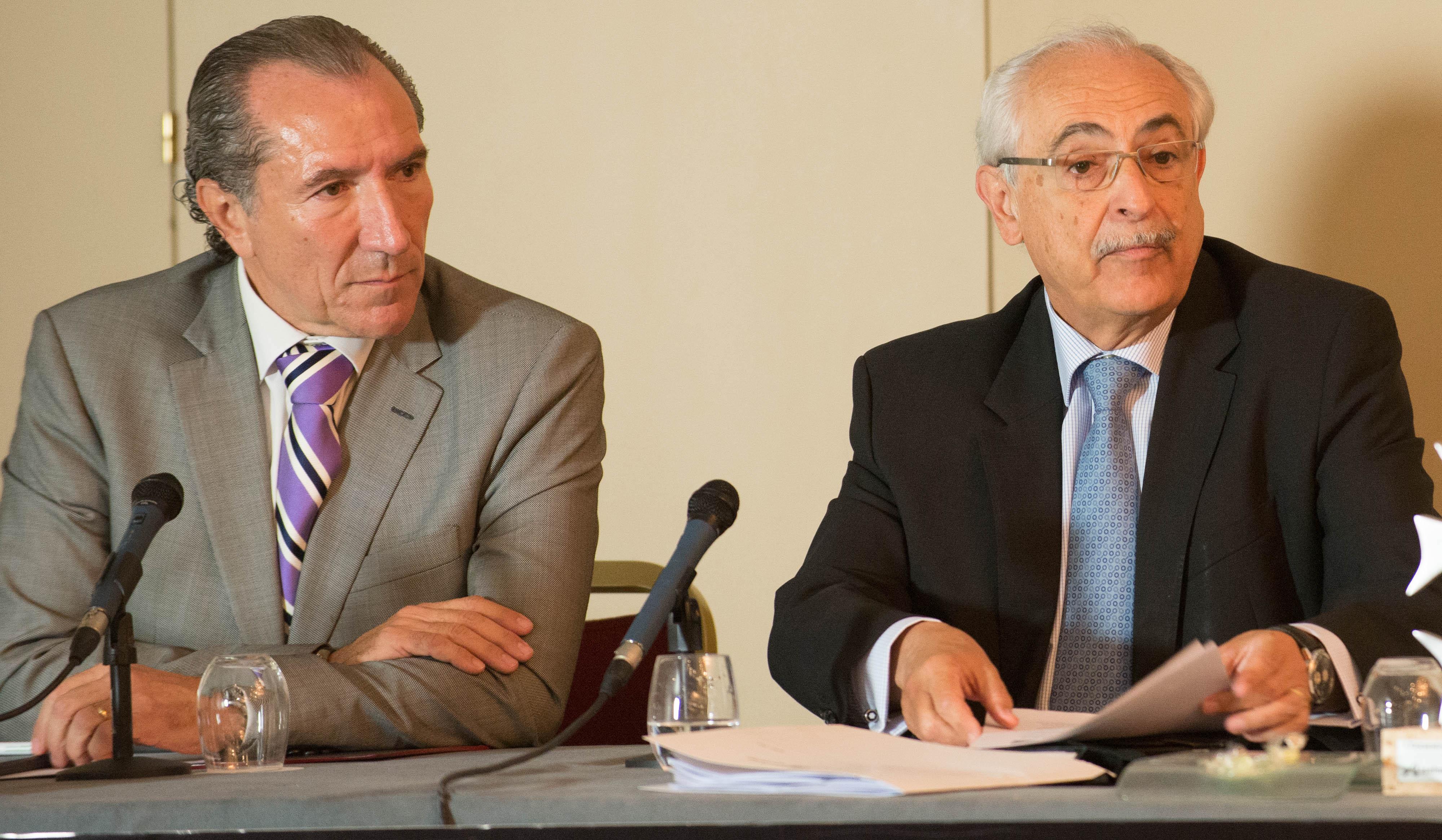 Juan José Potti, presidente de ASEFMA, y José Trigueros, Director General de Carreteras de la Comunidad de Madrid, durante la inauguración de la XI Jornada Nacional de ASEFMA.