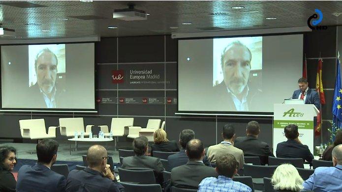 Juan José Potti interviene mediante videoconferencia en la IV Jornada Técnica Nacional de ATEB para agradecer su nombramiento como miembro de honor de la entidad | Créditos: @ptcarretera en Twitter